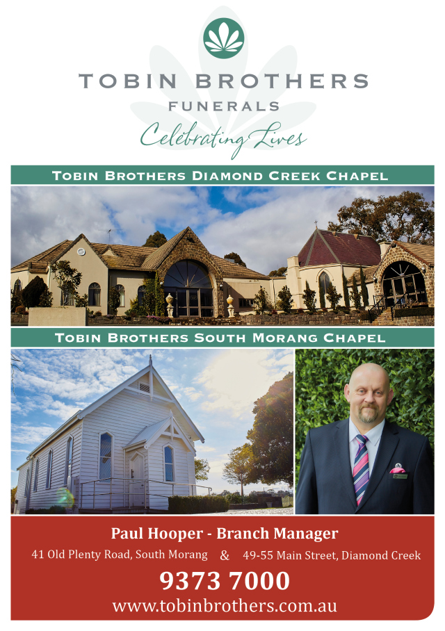 Tobin Brothers Funerals - Diamond Creek (http://tobinbrothers.com.au/287/Diamond-Creek.html) and South Morang (http://tobinbrothers.com.au/246/South-Morang.html)